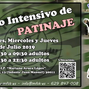 Taller intensivo de patinaje Adultos Mañanas 9, 10, 11 Julio 2019